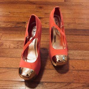 Pink + Gold Platform Heels